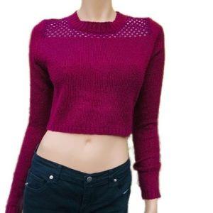 LF Millau Cropped Acrylic Sweater w/Crochet Detail